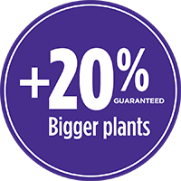 20% bigger plants with PRO-MIX PREMIUM ORGANIC MOISTURE MIX