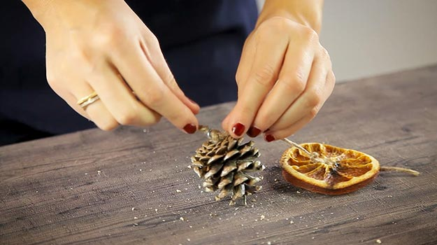 Pass the rope through the eye screw and tie a knot to keep the pine cone in place.