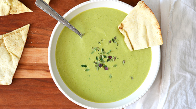 Chilled green pea and zucchini soup