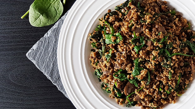 Lentil, mushroom and spinach couscous