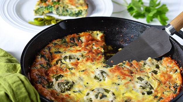 Spinach and fiddlehead frittata